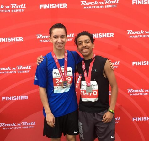 Northside students Seth Karall and Jalen Miron after running a half marathon. Photo by Steve Karall.