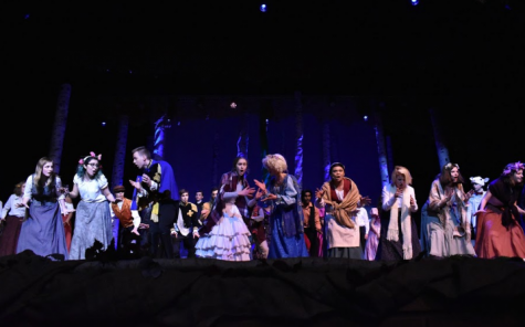"The cast of ""Into the Woods"" sings the finale. Photo by Andrea Prest."